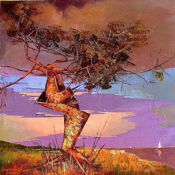 Oil On Canvas Painting - Crimean Pine by Anastasija Kraineva