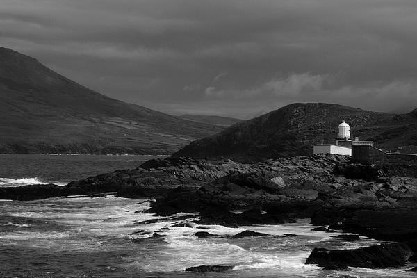 Valencia Island Kerry Ireland Landscape Pskeltonphoto Prints Canvas B&w Seascape  Ocean Ring Photograph - Cromwell Point Lighthouse by Peter Skelton