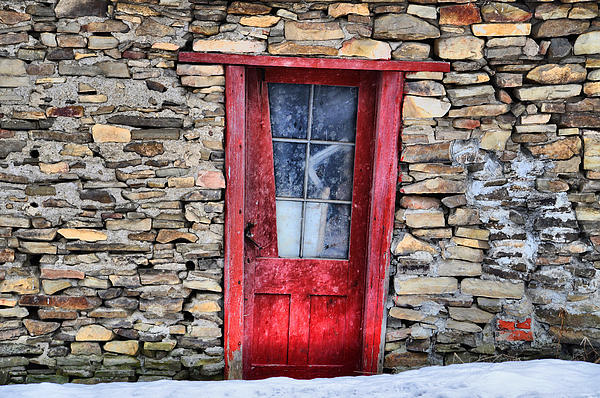 Door Photograph - Crooked Red by Emily Stauring