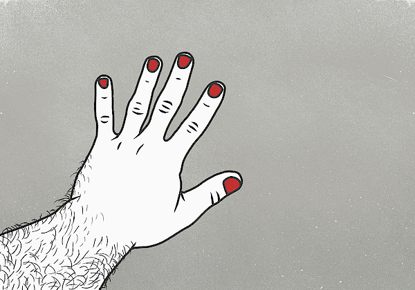 Cropped Image Of Man With Red Nail Polish On Finger Against Gray Background Drawing by Malte Mueller