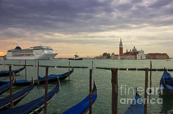 Sky Photograph - Cruise Ship Entering The Venice Lagoon At Dawn by Kiril Stanchev