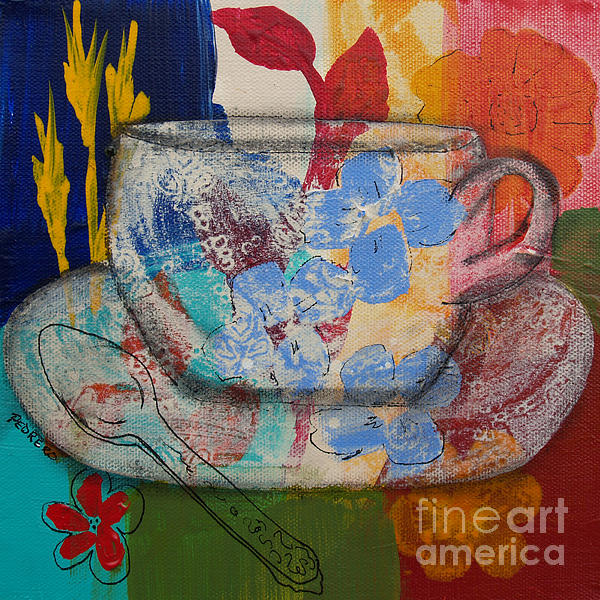 Teacup Painting - Cuppa Luv by Robin Maria Pedrero