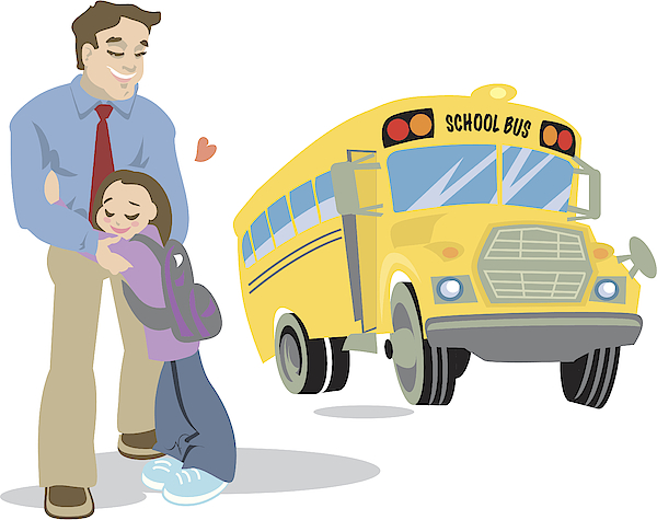 Dad And Child Waiting For The Schoolbus Drawing by Imagezoo