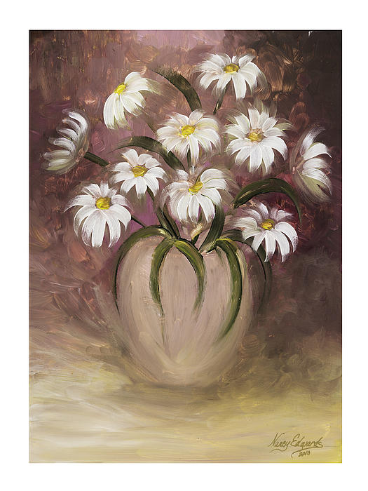 Flowers Painting - Daisy Delight by Nancy Edwards