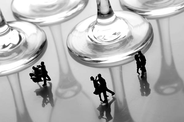 Black And White Painting - Dancing Among Glass Cups by Paul Ge