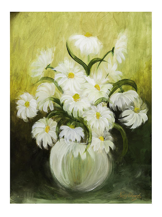 Flowers Painting - Dancing Daisies by Nancy Edwards