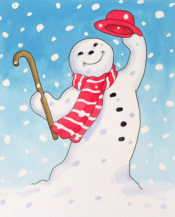 Christmas Painting - Dancing Snowman by Lavinia Hamer