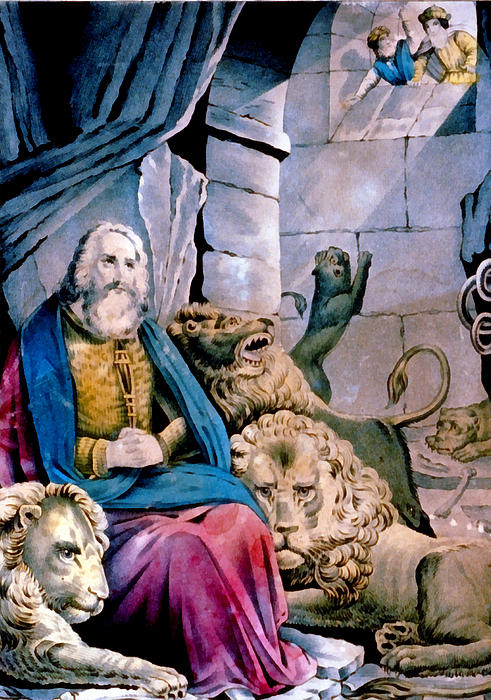 Currier & Ives Digital Art - Daniel In The Lions Den by Currier and Ives