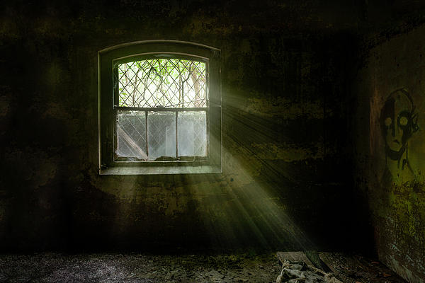 Old Window Photograph - Darkness Revealed - Basement Room Of An Abandoned Asylum by Gary Heller