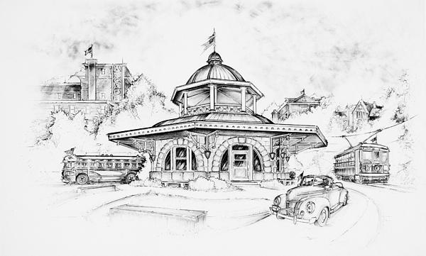 Decatur Transfer House Drawing - Decatur Transfer House by Scott and Dixie Wiley