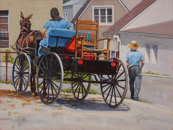 Amish Painting - Delivering The Chair by Todd Baxter