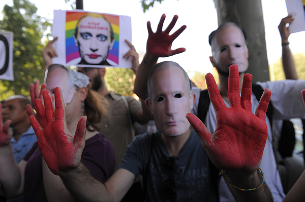 Demonstrators Protest Against Russian Anti Gay Laws Outside Their Embassy Photograph by Denis Doyle