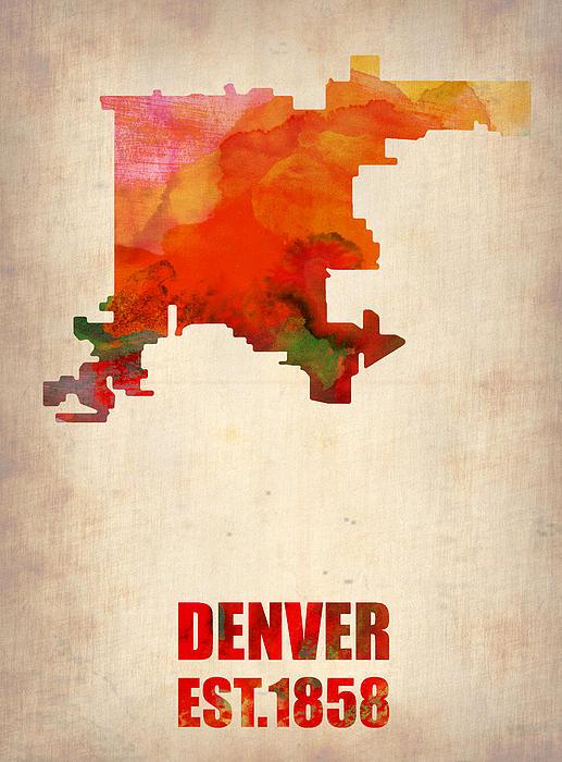 Denver Digital Art - Denver Watercolor Map by Naxart Studio