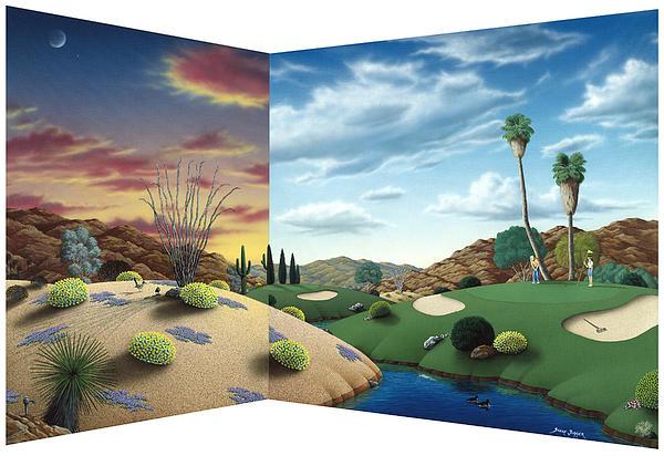 Golf Painting - Desert Golf by Snake Jagger