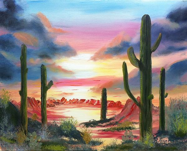 Oil Painting - Desert Sunrise by Roy Gould