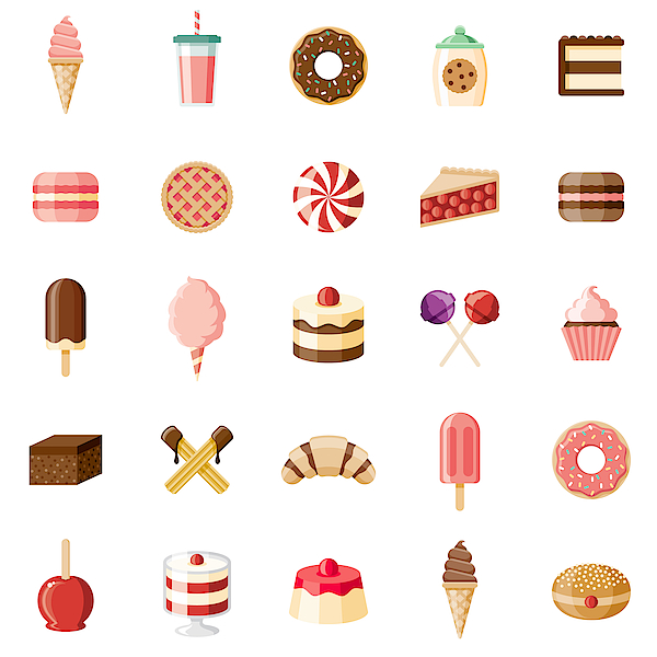 Desserts & Sweet Foods Flat Design Icon Set Drawing by Bortonia