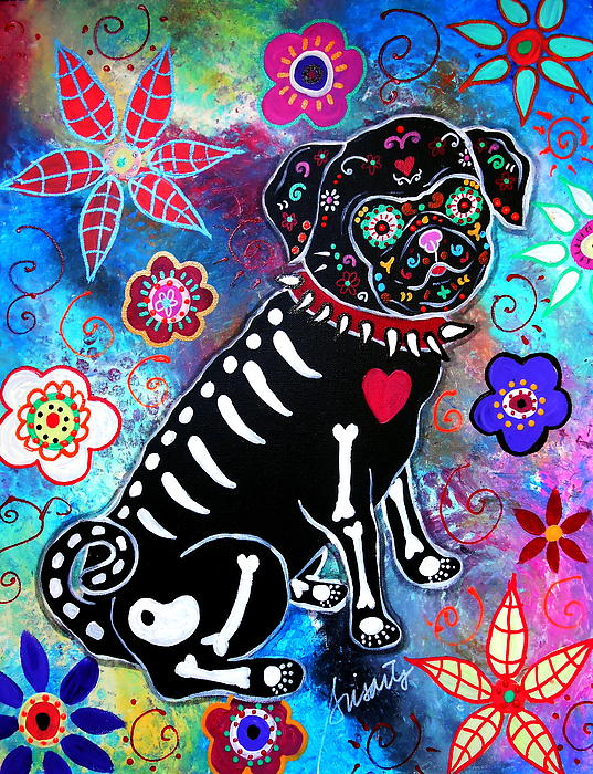 Day Of The Dead Painting - Dia De Los Muertos Pug by Pristine Cartera Turkus