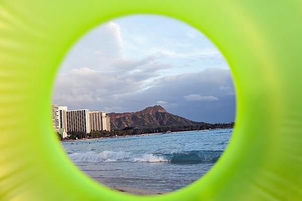 Beach Photograph - Diamond Head Framed By Floatie by Brandon Tabiolo