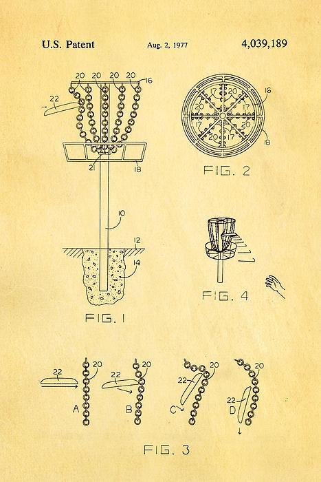 Famous Photograph - Disc Golf - Frisbee Golf Patent Art 1977 by Ian Monk