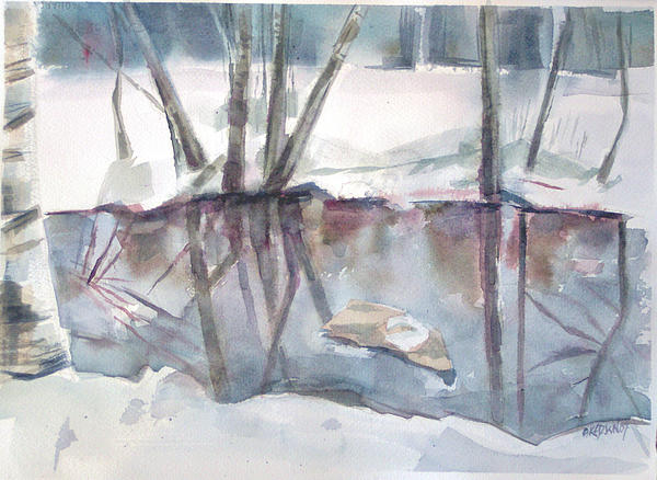 Maine Painting - Ditch Pool April by Grace Keown