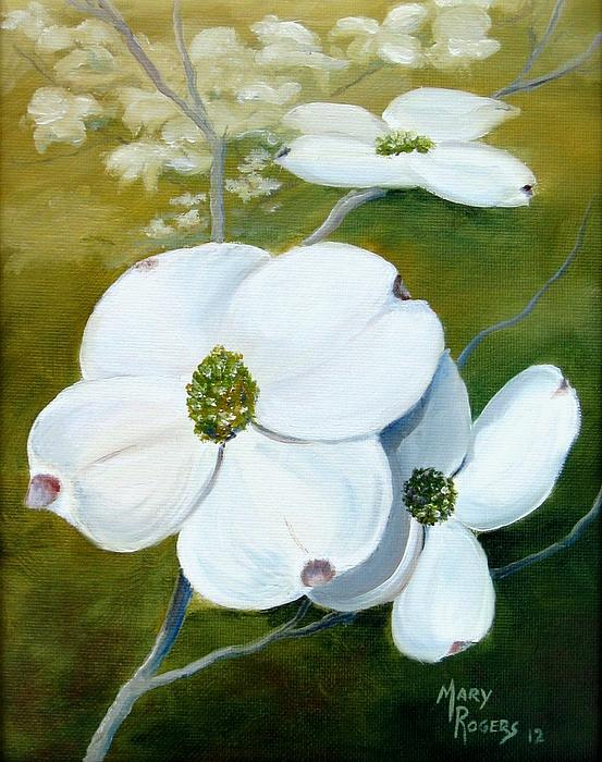 Nature Painting - Dogwood Blossoms by Mary Rogers