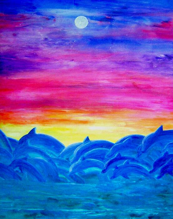 Dolphin Sunset Painting by Sheri Salin
