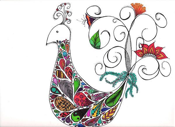Birds Drawing - Doodle Bird by Lori Thompson