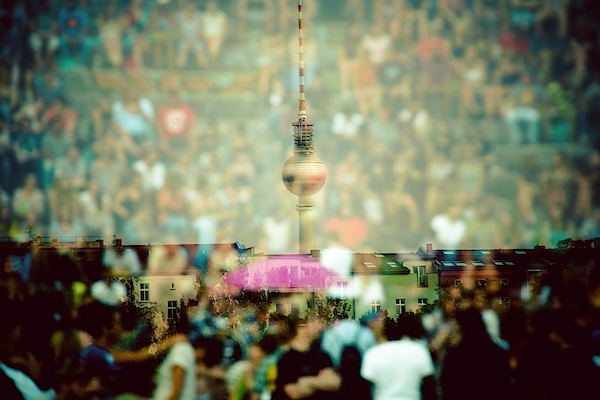 Double Exposure Of Crowd And Communications Tower Photograph by Thorsten Gast / EyeEm