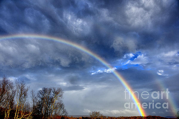 Rainbow Photograph - Double Rainbow Over Mountain by Thomas R Fletcher