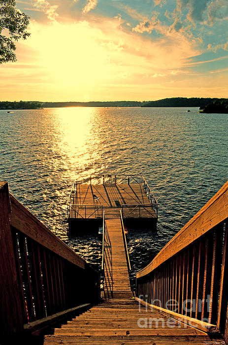 Skyscape Photograph - Down To The Fishing Dock - Lake Of The Ozarks Mo by Debbie Portwood