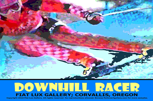 Skiing Digital Art - Downhill Racer by Michael Moore