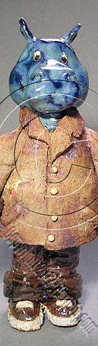 Bookmark Sculpture - Dr Herman Hippopotamus # 368 by Jeanette K