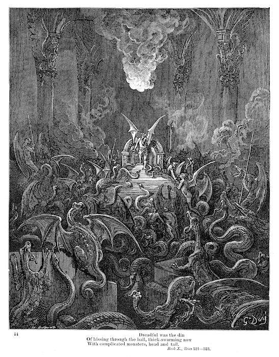 Dreadful Was The Din Of Hissing Through The Hall 1885 Drawing by Thepalmer