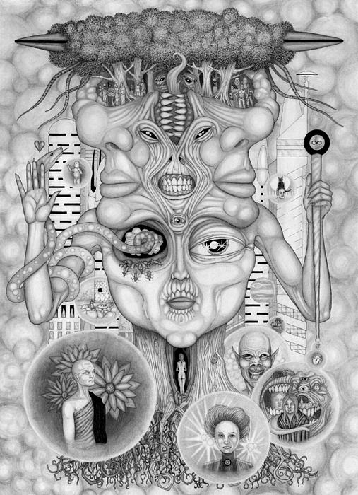 Surreal Drawing - Dreams Of The Deity by Kris Milo