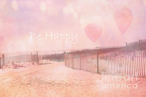 Pink Ocean Photos Photograph - Dreamy Cottage Chic Summer Beach Typography by Kathy Fornal