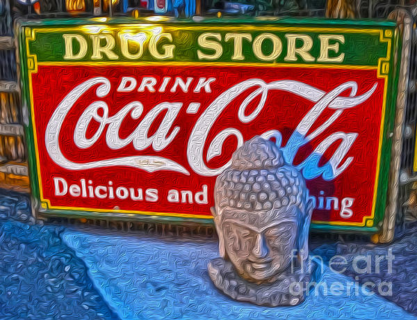 Buddha Painting - Drug Store Buddha by Gregory Dyer