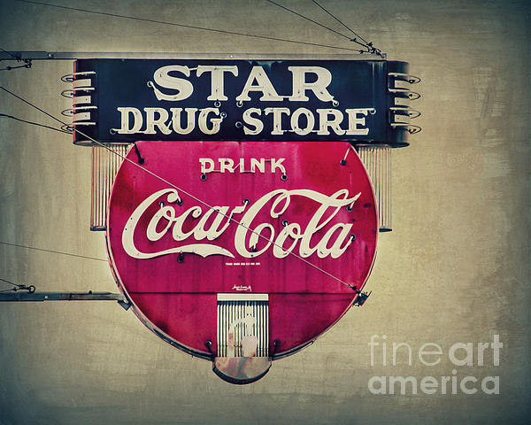 Sign Photograph - Drug Store Neon by Perry Webster