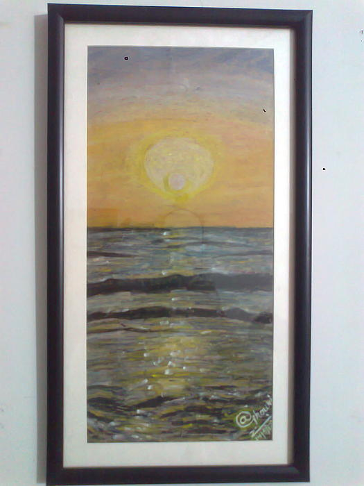 Seascape Painting - Dusk by A Ghouri