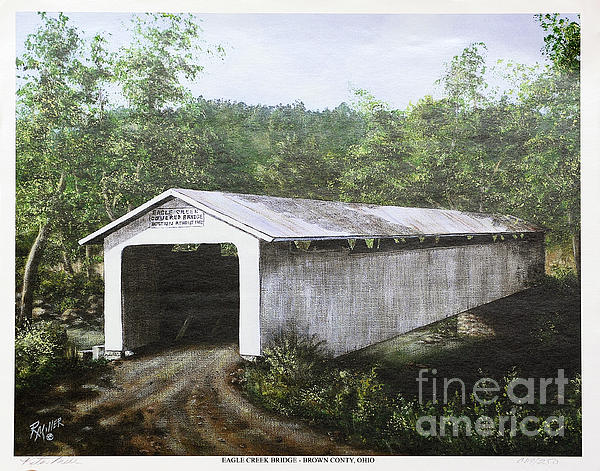 Historic Painting - Eagle Creek Covered Bridge Brown County Ohio by Rita Miller