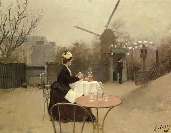 Signed Painting - Eating Al Fresco by Ramon Casas i Carbo