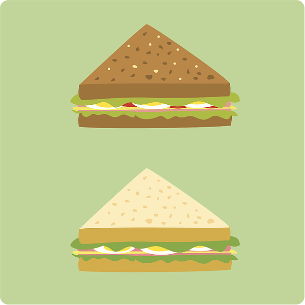 Egg And Ham Sandwiches Drawing by Viviyan