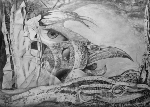 Ego Drawing - Ego-bird-fish Nesting Ground by Otto Rapp