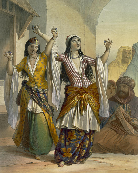 Print Drawing - Egyptian Dancing Girls Performing by Emile Prisse dAvennes