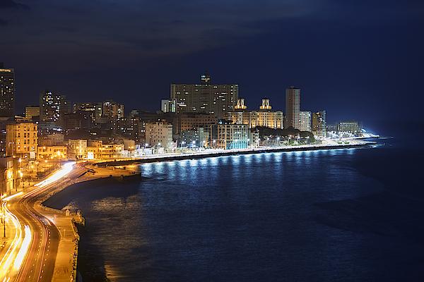 El Malecon, At Night, Havana, Cuba Photograph by B&M Noskowski