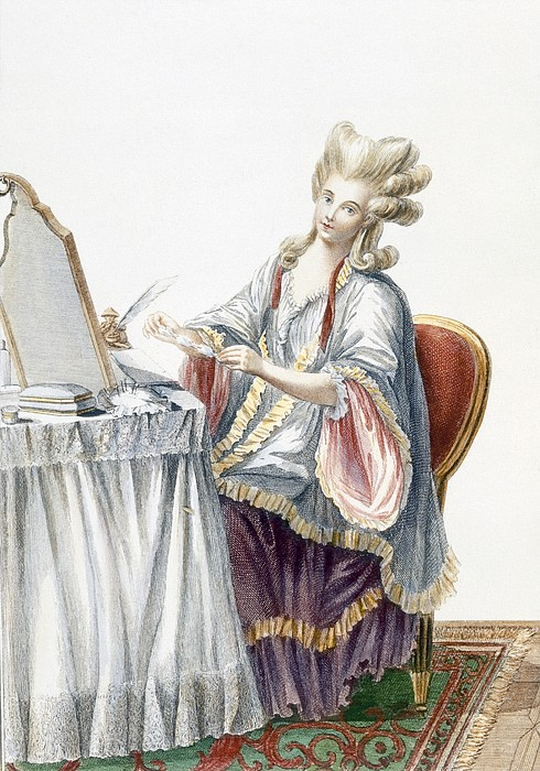 Hairstyle Drawing - Elegant Lady At Her Dressing Table by Pierre Thomas Le Clerc