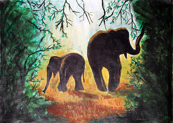 Elephants Painting - Elephants At Night by Saranya Haridasan