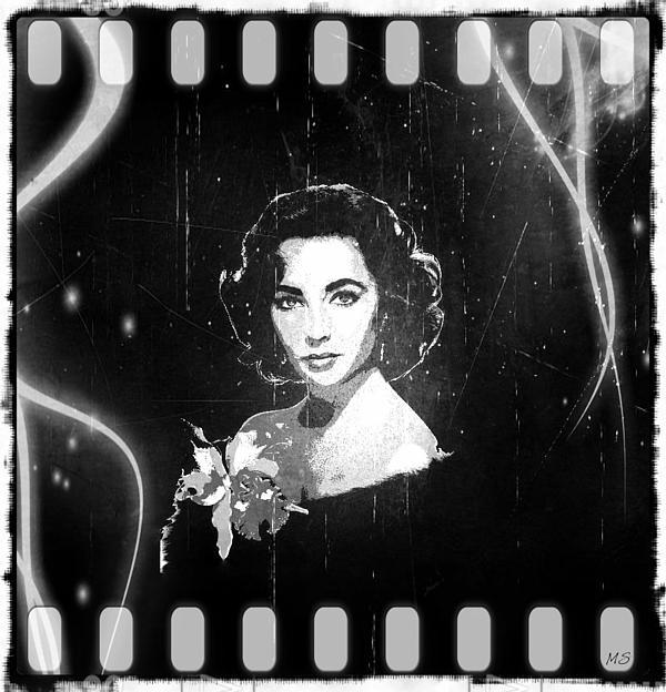 Elizabeth Taylor Digital Art - Elizabeth Taylor - Black And White Film by Absinthe Art By Michelle LeAnn Scott