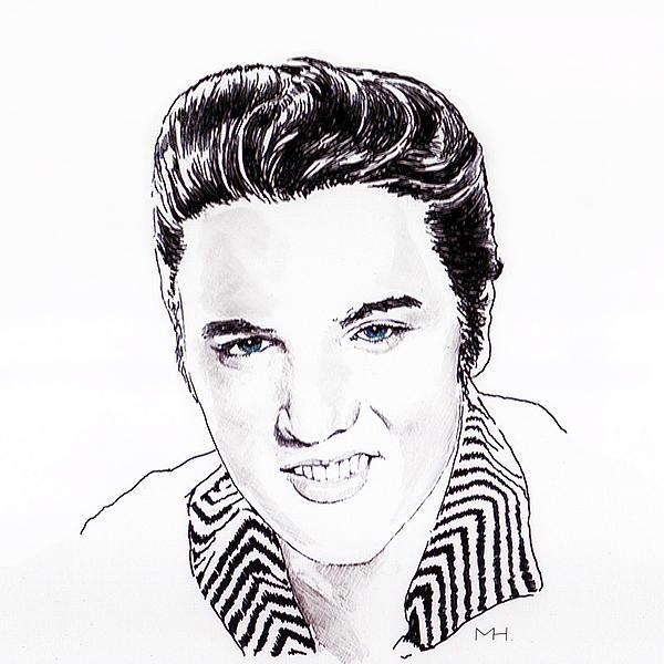 Portrait Drawing - Elvis by Martin Howard