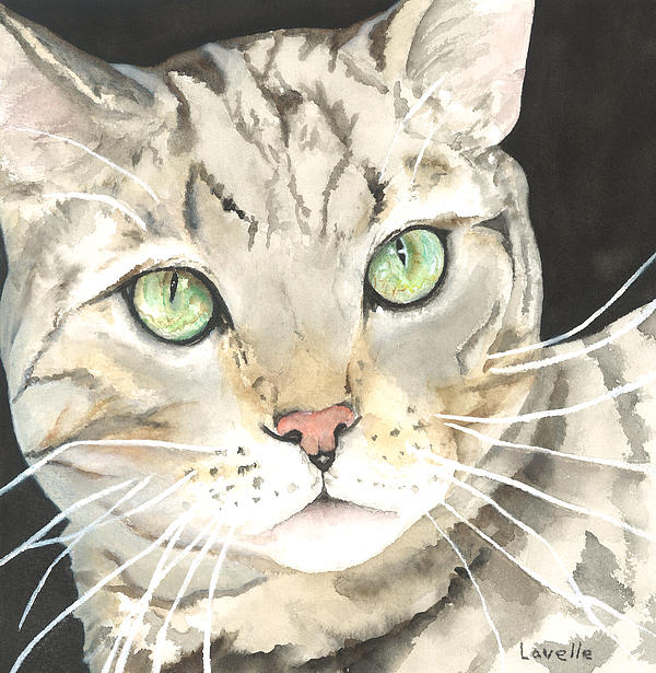 Cats Painting - Emerald Eyes by Kimberly Lavelle