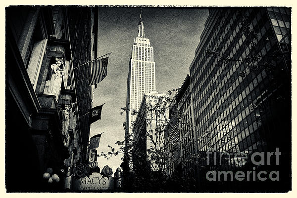 Noir Photograph - Empire State Building And Macys In New York City by Sabine Jacobs